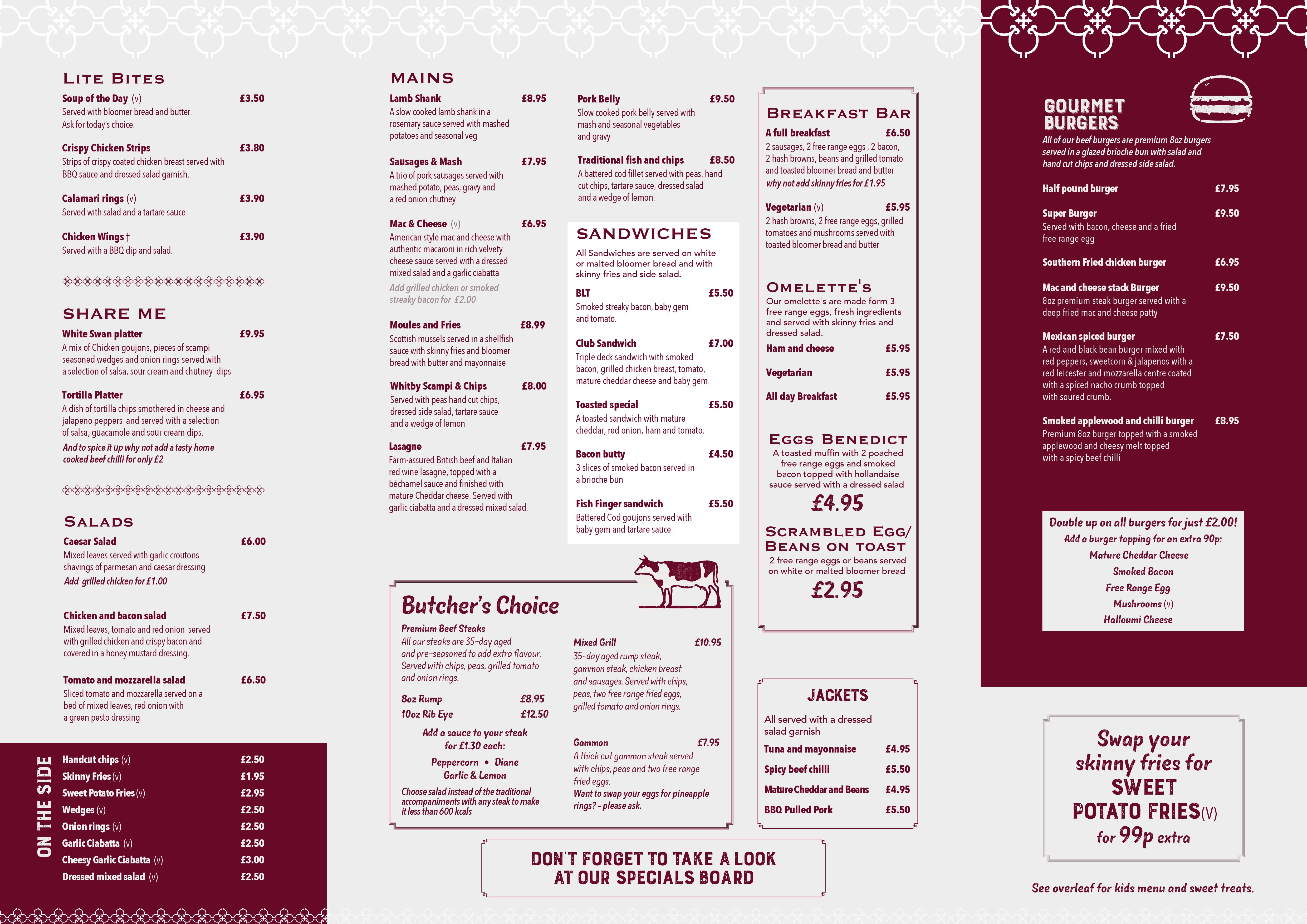 photo regarding Printable Menus named Menus - White Swan Cambs